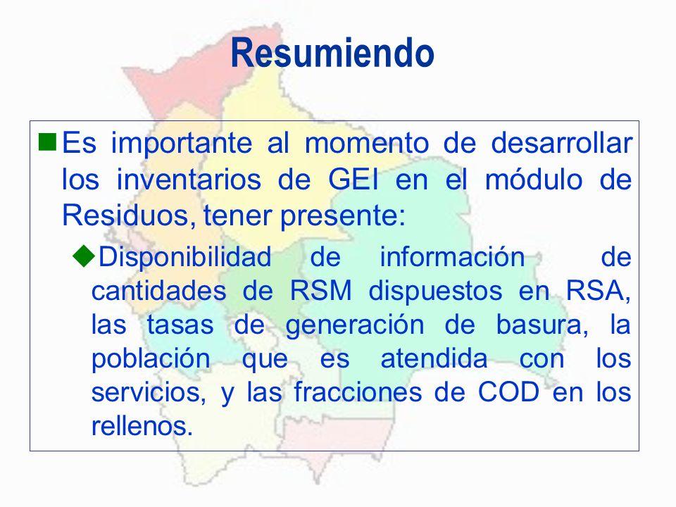 Resumiendo Es importante al momento de desarrollar los inventarios de GEI en el módulo de Residuos, tener presente: Disponibilidad de información de c