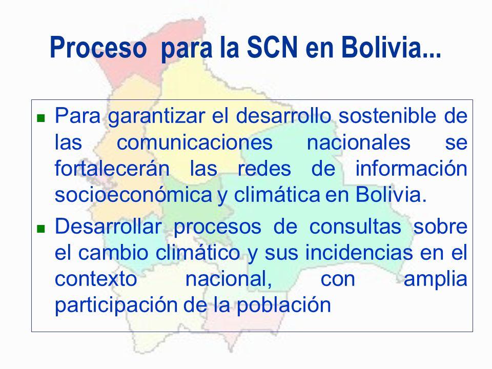 Proceso para la SCN en Bolivia... Para garantizar el desarrollo sostenible de las comunicaciones nacionales se fortalecerán las redes de información s
