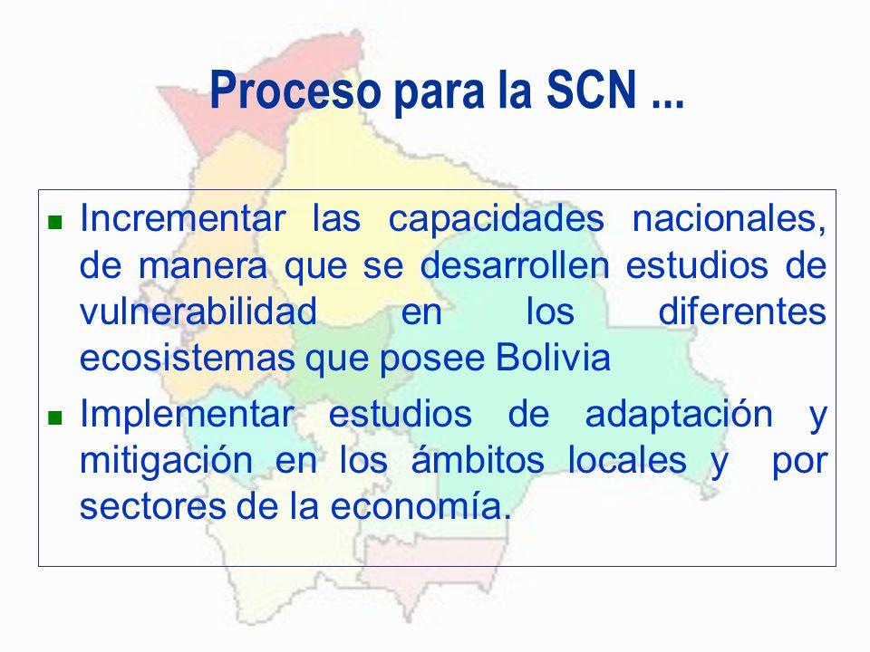 Proceso para la SCN... Incrementar las capacidades nacionales, de manera que se desarrollen estudios de vulnerabilidad en los diferentes ecosistemas q