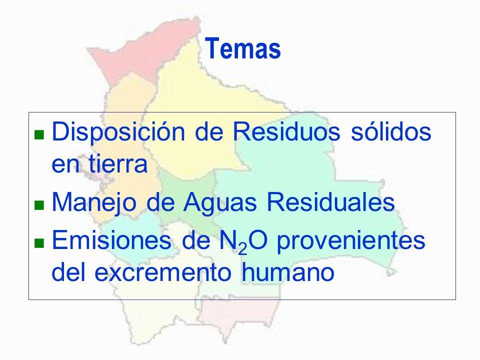 Temas Disposición de Residuos sólidos en tierra Manejo de Aguas Residuales Emisiones de N 2 O provenientes del excremento humano