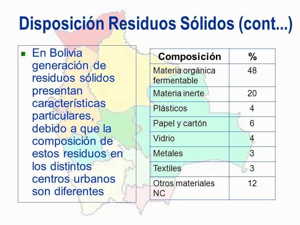 Disposición Residuos Sólidos (cont...) En Bolivia generación de residuos sólidos presentan características particulares, debido a que la composición d
