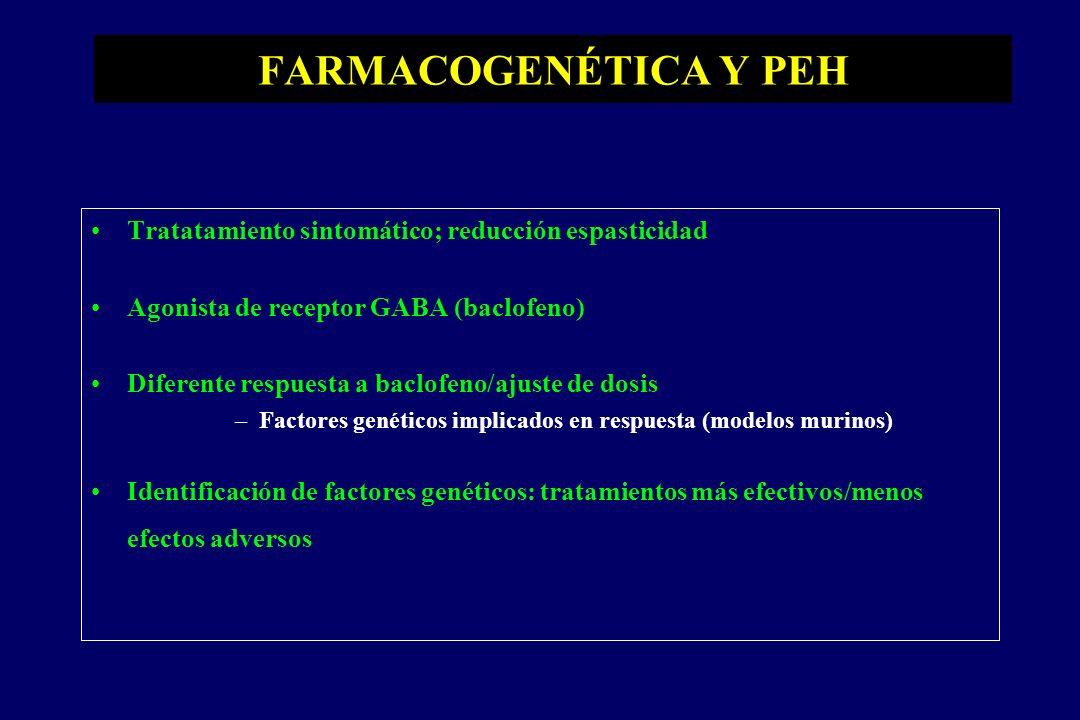 FARMACOGENÉTICA Y PEH Tratatamiento sintomático; reducción espasticidad Agonista de receptor GABA (baclofeno) Diferente respuesta a baclofeno/ajuste de dosis –Factores genéticos implicados en respuesta (modelos murinos) Identificación de factores genéticos: tratamientos más efectivos/menos efectos adversos