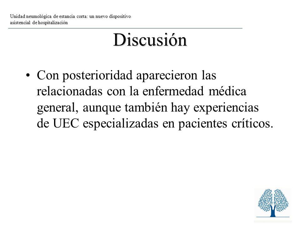 Discusión Con posterioridad aparecieron las relacionadas con la enfermedad médica general, aunque también hay experiencias de UEC especializadas en pacientes críticos.