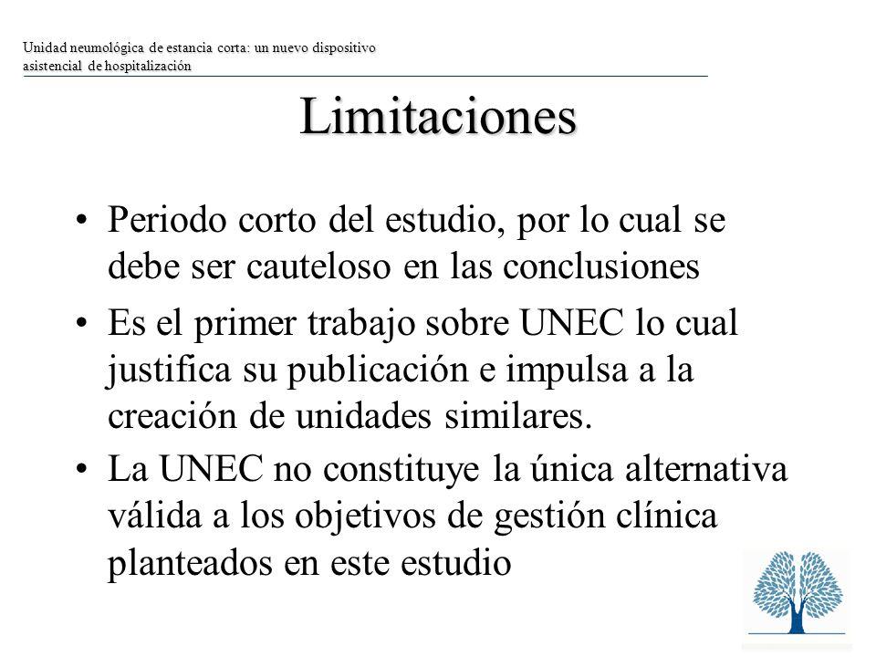 Limitaciones Periodo corto del estudio, por lo cual se debe ser cauteloso en las conclusiones Es el primer trabajo sobre UNEC lo cual justifica su publicación e impulsa a la creación de unidades similares.