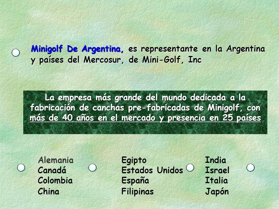 Minigolf De Argentina, es representante en la Argentina y países del Mercosur, de Mini-Golf, Inc La empresa más grande del mundo dedicada a la fabricación de canchas pre-fabricadas de Minigolf, con más de 40 años en el mercado y presencia en 25 países AlemaniaEgiptoIndia CanadáEstados UnidosIsrael ColombiaEspañaItalia ChinaFilipinasJapón