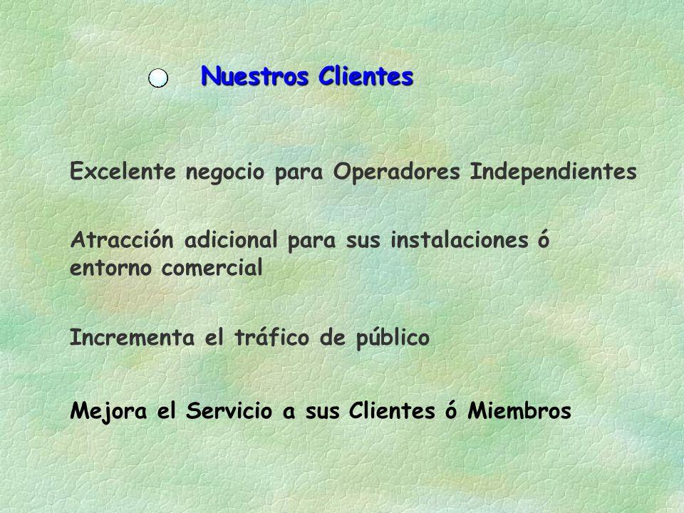 Nuestros Clientes Excelente negocio para Operadores Independientes Atracción adicional para sus instalaciones ó entorno comercial Incrementa el tráfico de público Mejora el Servicio a sus Clientes ó Miembros