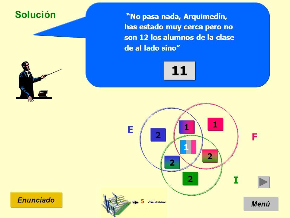 Solución Menú Enunciado No pasa nada, Arquimedín, has estado muy cerca pero no son 12 los alumnos de la clase de al lado sino E I F 2 2 2 1 1 11 1 2
