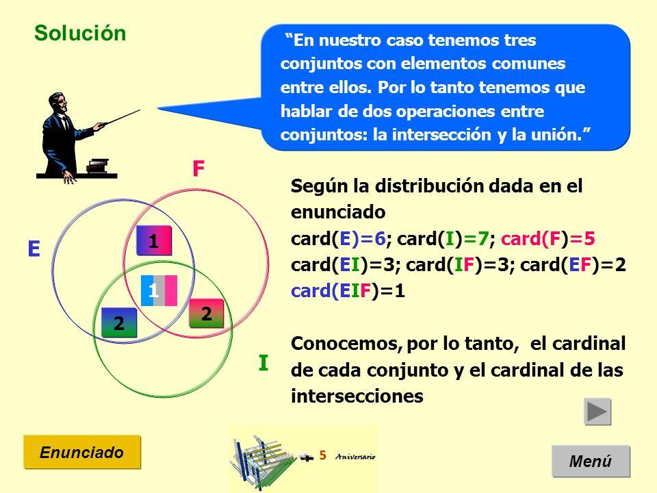 Solución Menú Enunciado En nuestro caso tenemos tres conjuntos con elementos comunes entre ellos.