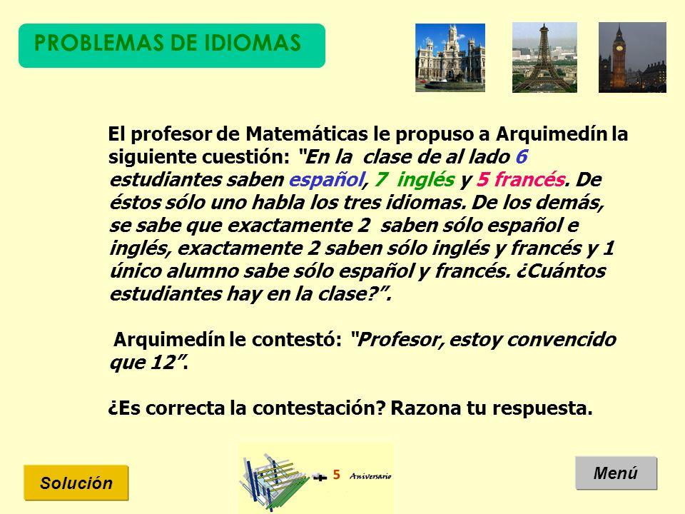 PROBLEMAS DE IDIOMAS Solución Menú El profesor de Matemáticas le propuso a Arquimedín la siguiente cuestión: En la clase de al lado 6 estudiantes saben español, 7 inglés y 5 francés.