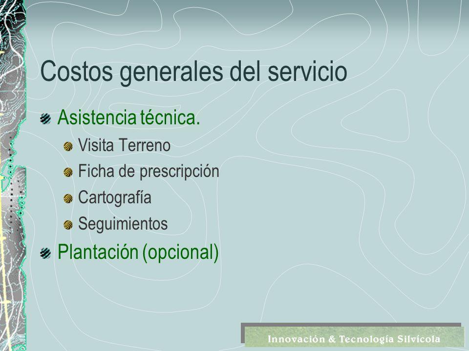 Costos generales del servicio Asistencia técnica.
