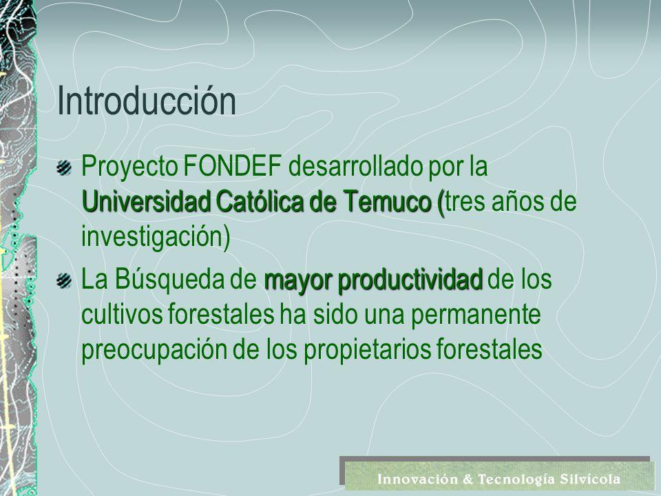 Introducción Universidad Católica de Temuco ( Proyecto FONDEF desarrollado por la Universidad Católica de Temuco (tres años de investigación) mayor productividad La Búsqueda de mayor productividad de los cultivos forestales ha sido una permanente preocupación de los propietarios forestales