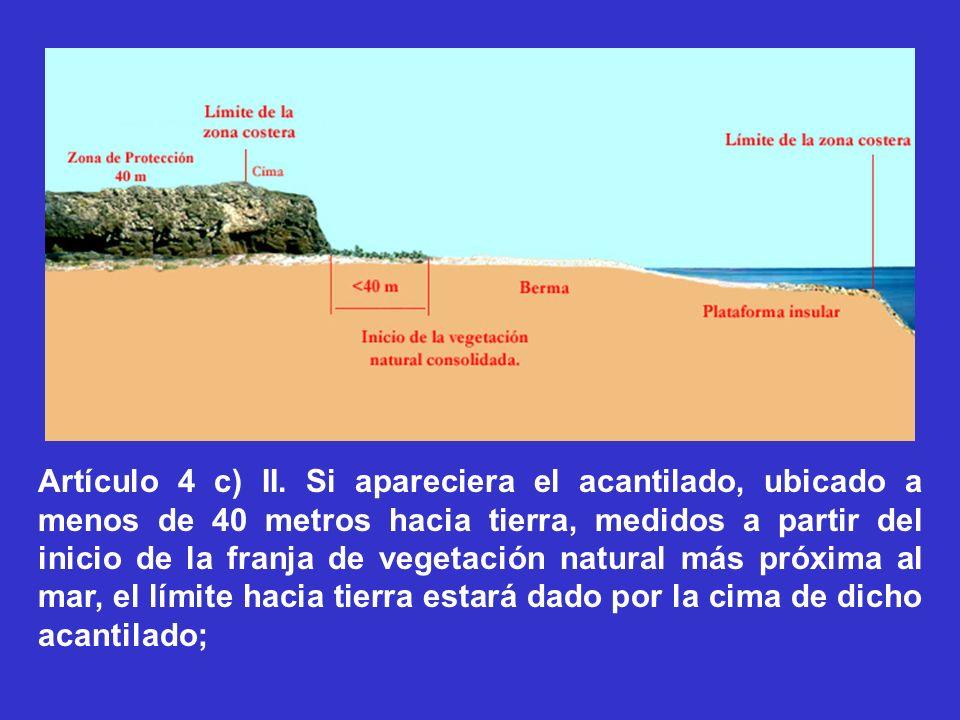 Artículo 4 c) II. Si apareciera el acantilado, ubicado a menos de 40 metros hacia tierra, medidos a partir del inicio de la franja de vegetación natur