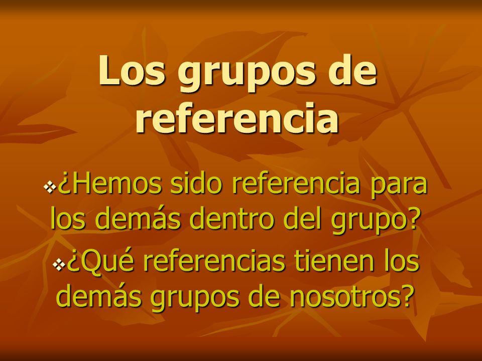 Los grupos de referencia ¿Hemos sido referencia para los demás dentro del grupo.