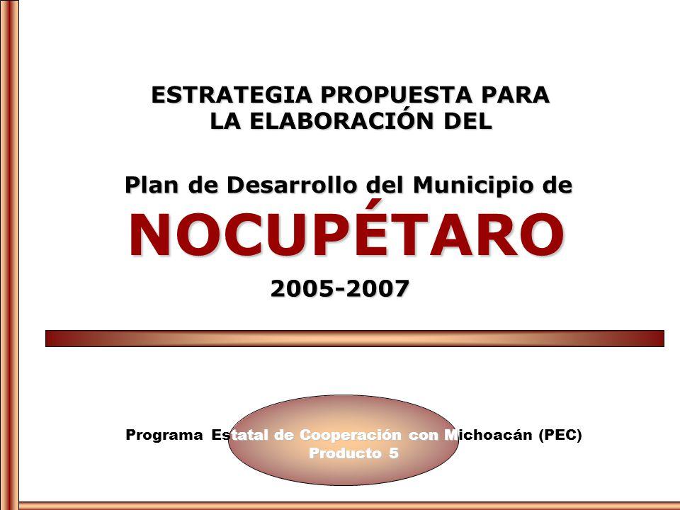tatal de Cooperación con M Producto 5 Programa Estatal de Cooperación con Michoacán (PEC) Producto 5 ESTRATEGIA PROPUESTA PARA LA ELABORACIÓN DEL NOCU