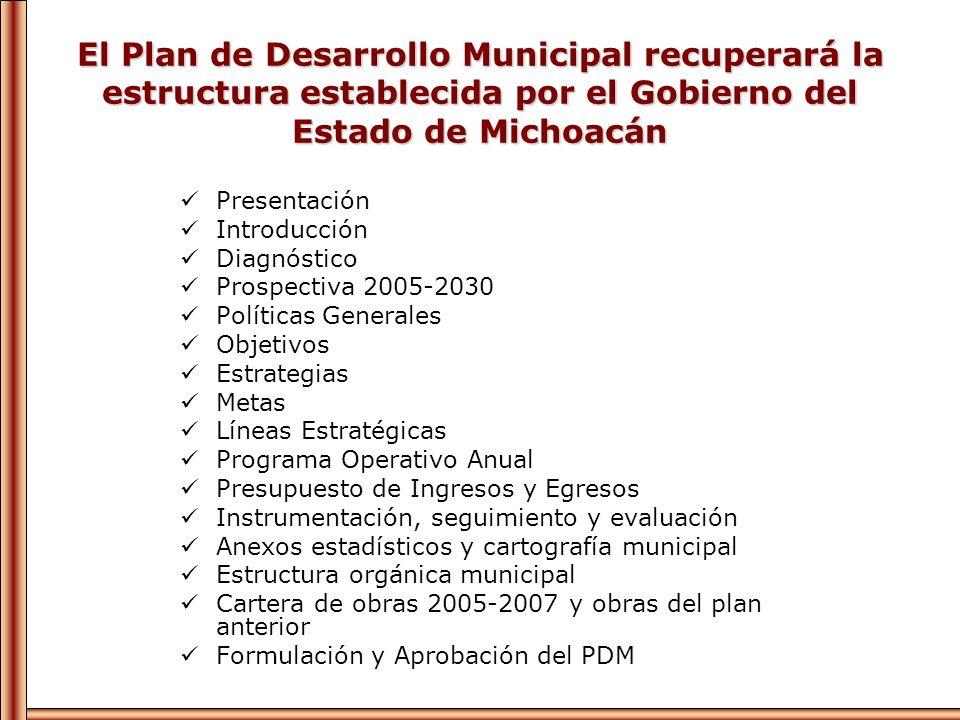 El Plan de Desarrollo Municipal recuperará la estructura establecida por el Gobierno del Estado de Michoacán Presentación Introducción Diagnóstico Pro
