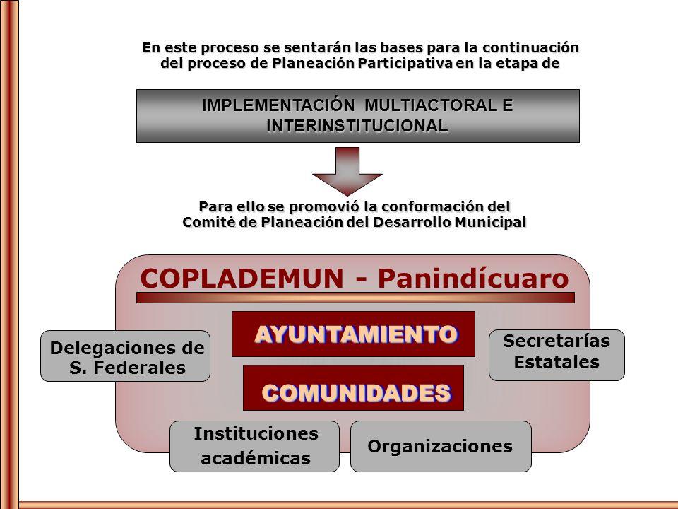IMPLEMENTACIÓN MULTIACTORAL E INTERINSTITUCIONAL En este proceso se sentarán las bases para la continuación del proceso de Planeación Participativa en