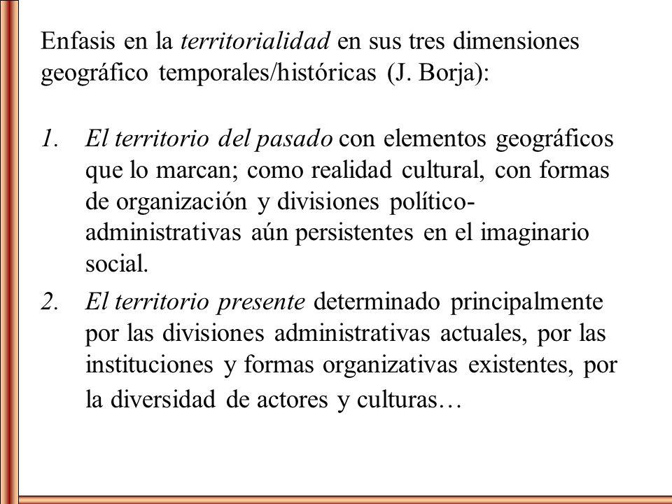 Enfasis en la territorialidad en sus tres dimensiones geográfico temporales/históricas (J. Borja): 1.El territorio del pasado con elementos geográfico