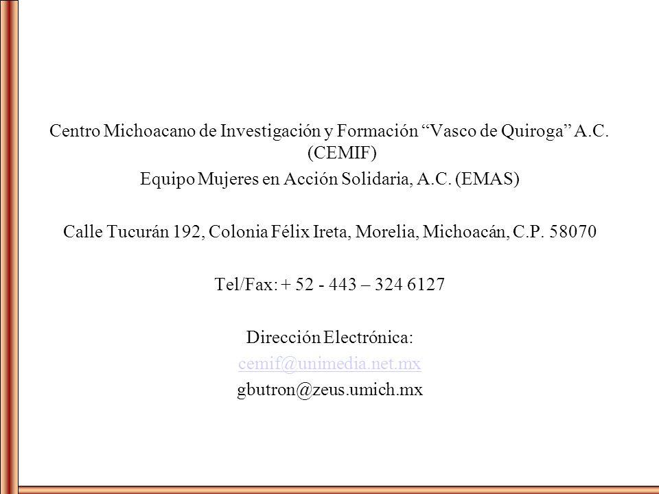 Centro Michoacano de Investigación y Formación Vasco de Quiroga A.C. (CEMIF) Equipo Mujeres en Acción Solidaria, A.C. (EMAS) Calle Tucurán 192, Coloni