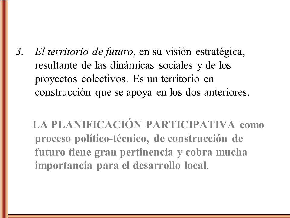 3.El territorio de futuro, en su visión estratégica, resultante de las dinámicas sociales y de los proyectos colectivos. Es un territorio en construcc