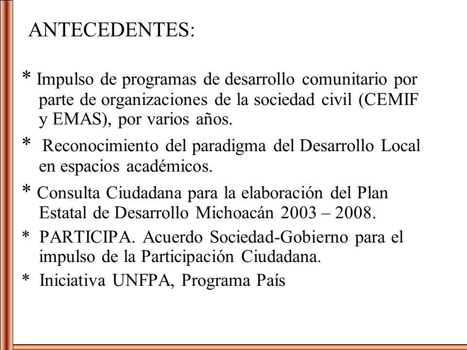 ANTECEDENTES: * Impulso de programas de desarrollo comunitario por parte de organizaciones de la sociedad civil (CEMIF y EMAS), por varios años. * Rec