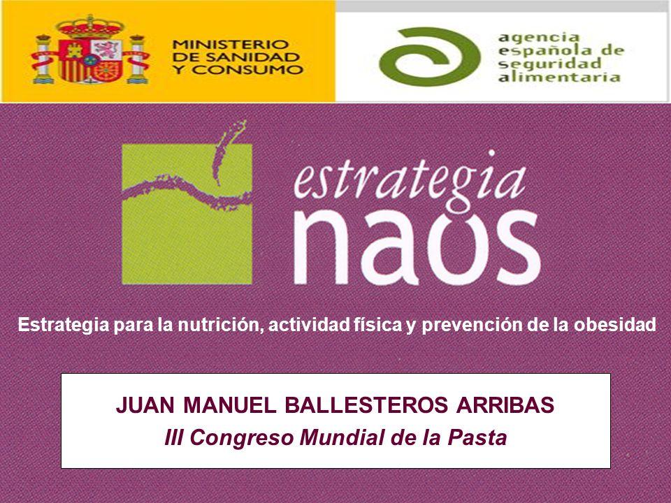 JUAN MANUEL BALLESTEROS ARRIBAS III Congreso Mundial de la Pasta Estrategia para la nutrición, actividad física y prevención de la obesidad