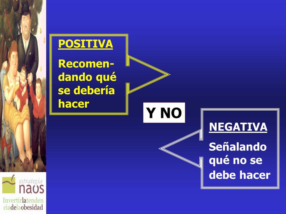 POSITIVA Recomen- dando qué se debería hacer NEGATIVA Señalando qué no se debe hacer Y NO