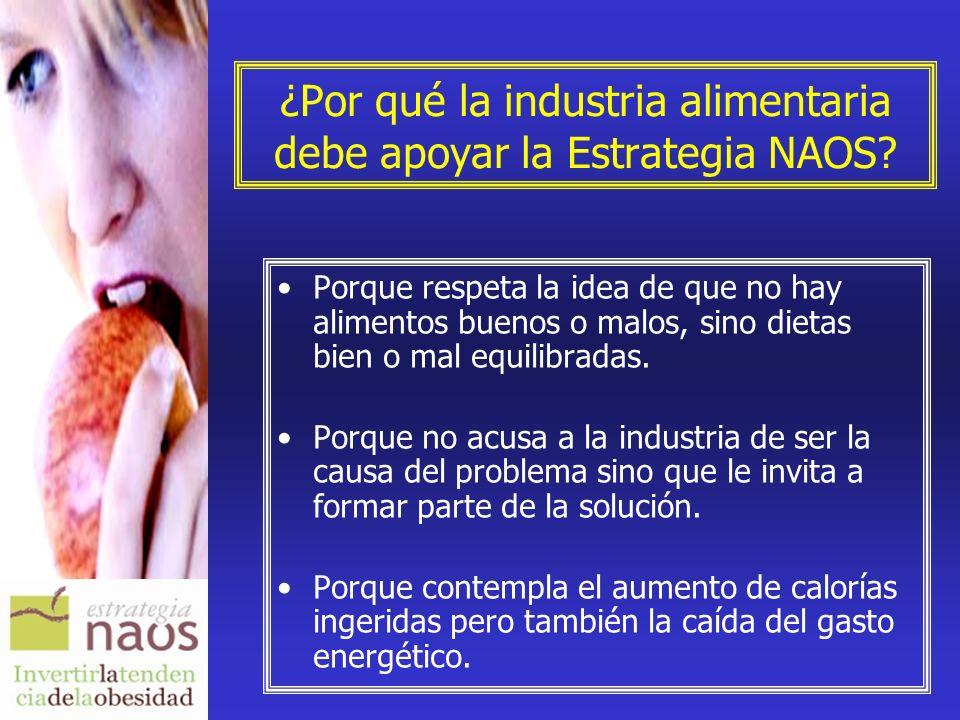 ¿Por qué la industria alimentaria debe apoyar la Estrategia NAOS? Porque respeta la idea de que no hay alimentos buenos o malos, sino dietas bien o ma