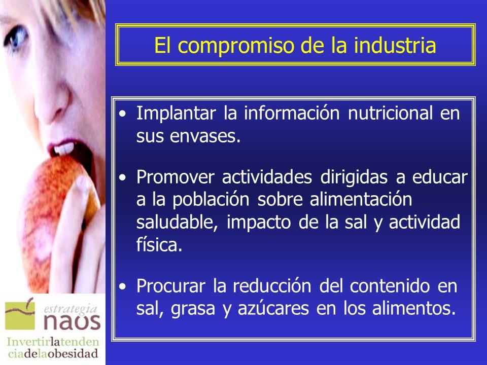 El compromiso de la industria Implantar la información nutricional en sus envases. Promover actividades dirigidas a educar a la población sobre alimen