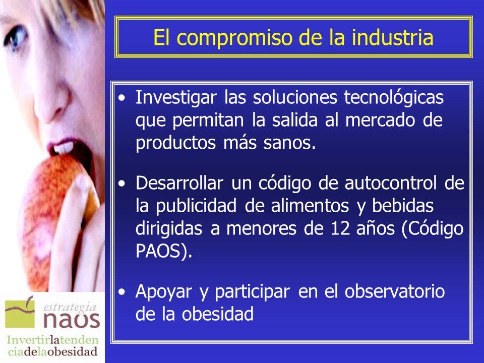 El compromiso de la industria Investigar las soluciones tecnológicas que permitan la salida al mercado de productos más sanos. Desarrollar un código d