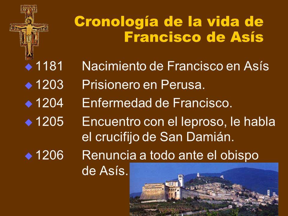 Cronología de la vida de Francisco de Asís 1181Nacimiento de Francisco en Asís 1203Prisionero en Perusa. 1204Enfermedad de Francisco. 1205Encuentro co