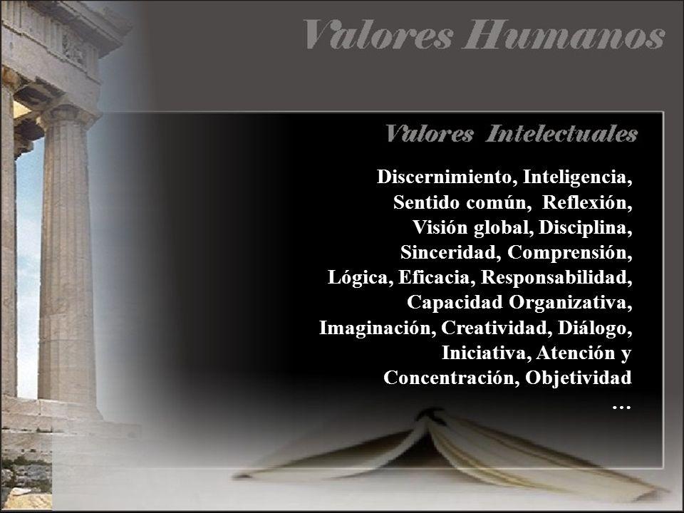 Discernimiento, Inteligencia, Sentido común, Reflexión, Visión global, Disciplina, Sinceridad, Comprensión, Lógica, Eficacia, Responsabilidad, Capacid