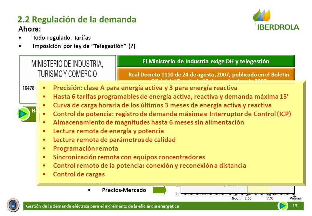 Gestión de la demanda eléctrica para el incremento de la eficiencia energética 13 2.2 Regulación de la demanda Ahora: Todo regulado. Tarifas Imposició
