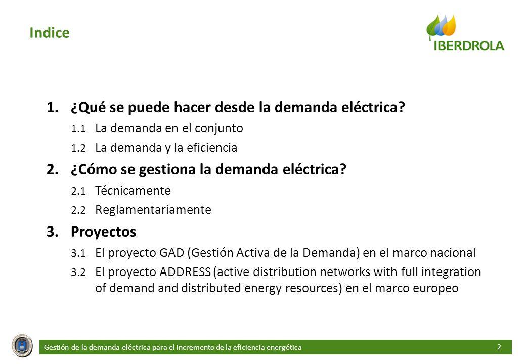 2 Indice 1.¿Qué se puede hacer desde la demanda eléctrica? 1.1 La demanda en el conjunto 1.2 La demanda y la eficiencia 2.¿Cómo se gestiona la demanda