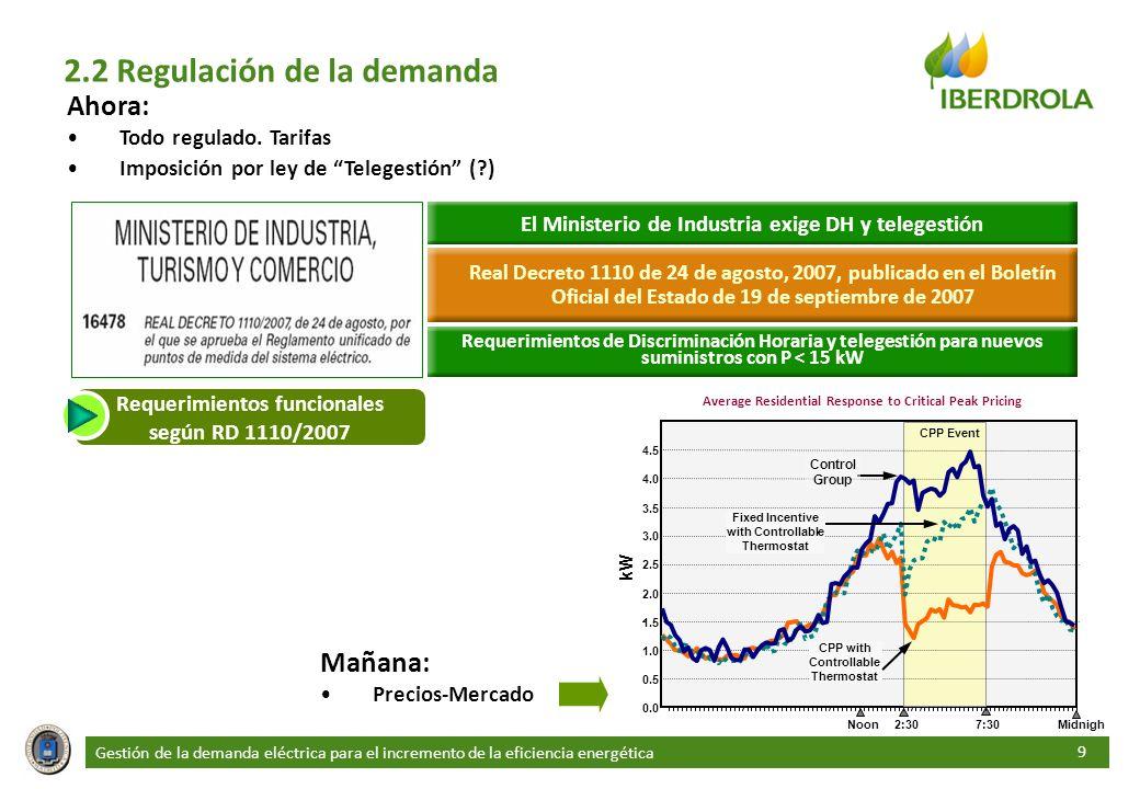 Gestión de la demanda eléctrica para el incremento de la eficiencia energética 9 2.2 Regulación de la demanda Ahora: Todo regulado. Tarifas Imposición