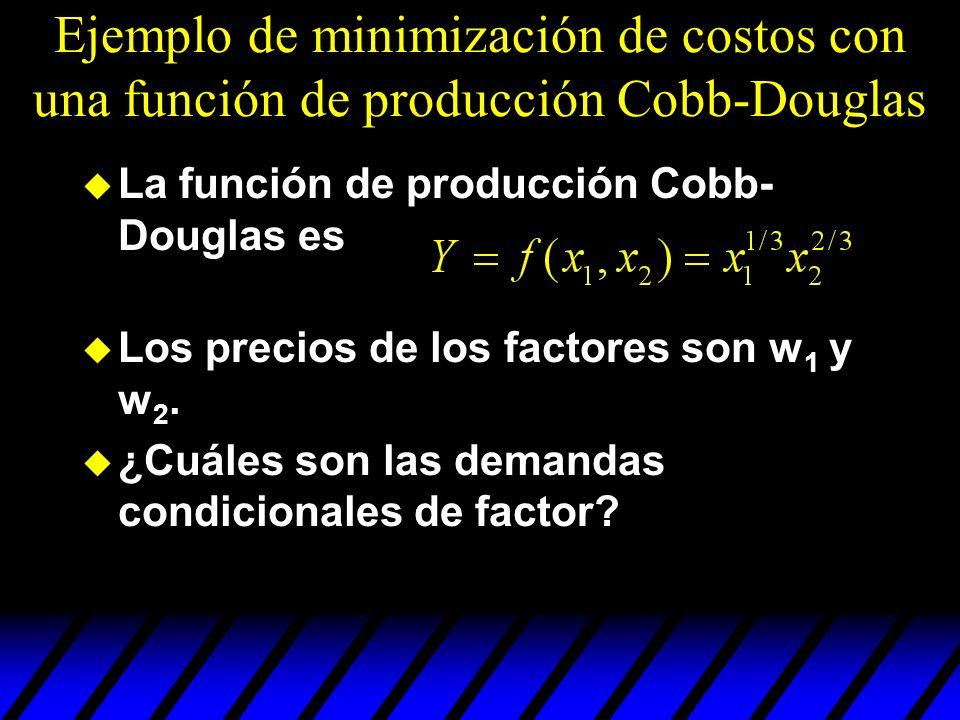 Ejemplo de minimización de costos con una función de producción Cobb-Douglas u La función de producción Cobb- Douglas es u Los precios de los factores