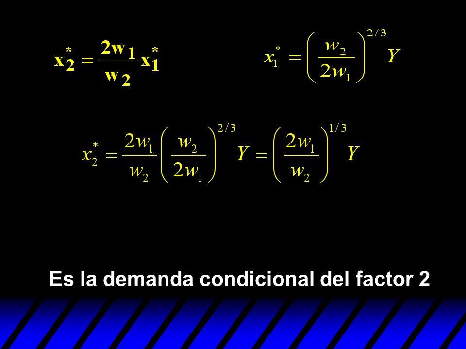 Es la demanda condicional del factor 2