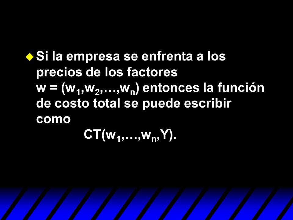 u Si la empresa se enfrenta a los precios de los factores w = (w 1,w 2,…,w n ) entonces la función de costo total se puede escribir como CT(w 1,…,w n,