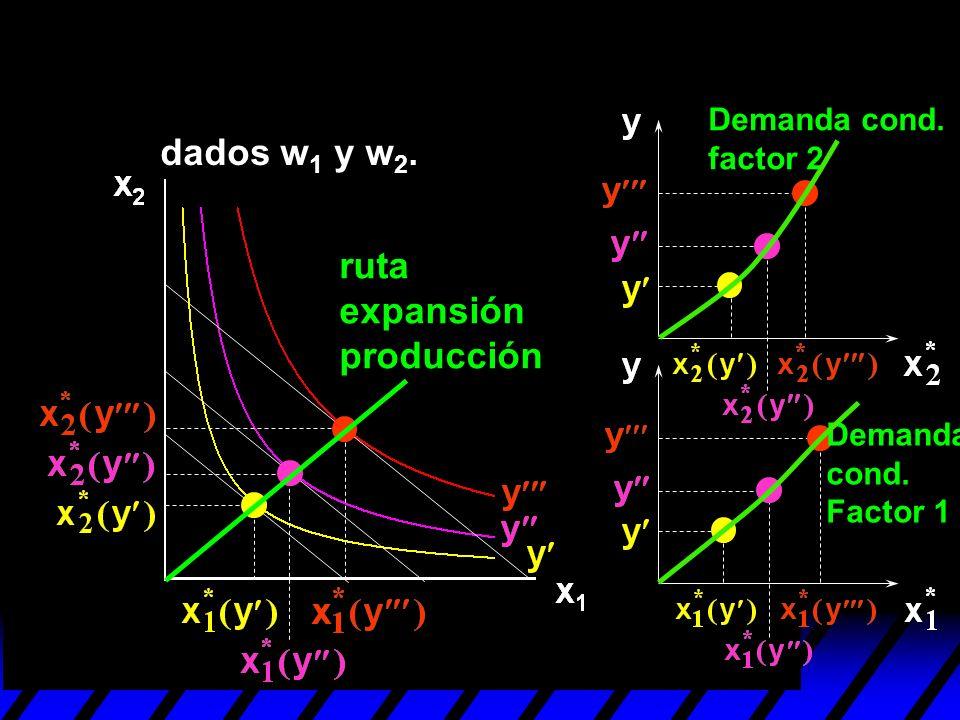 dados w 1 y w 2. ruta expansión producción Demanda cond. factor 2 Demanda cond. Factor 1