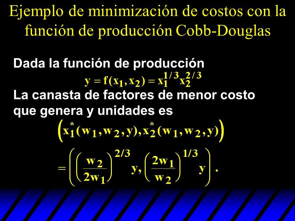 Ejemplo de minimización de costos con la función de producción Cobb-Douglas Dada la función de producción La canasta de factores de menor costo que ge