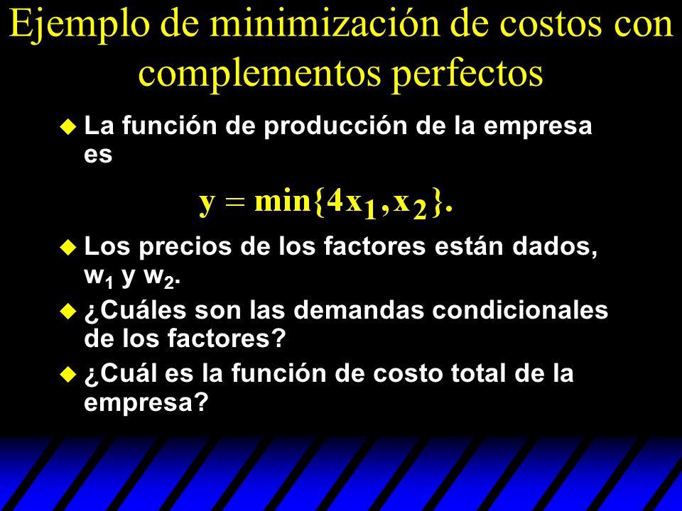 Ejemplo de minimización de costos con complementos perfectos u La función de producción de la empresa es u Los precios de los factores están dados, w