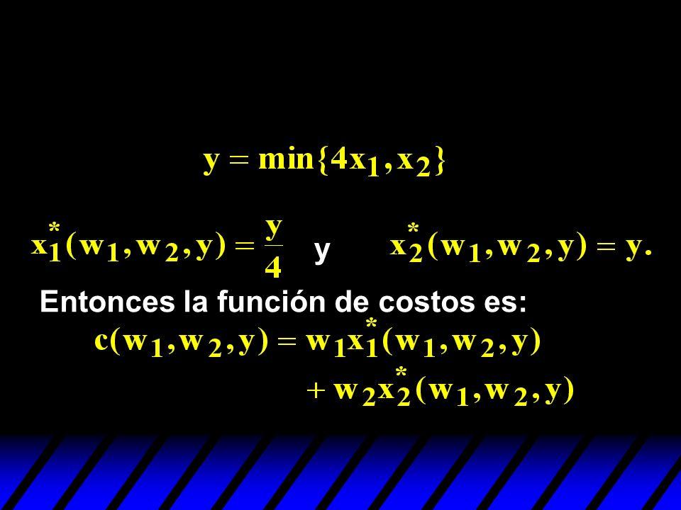 y Entonces la función de costos es: