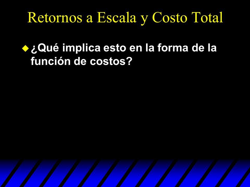 Retornos a Escala y Costo Total u ¿Qué implica esto en la forma de la función de costos?