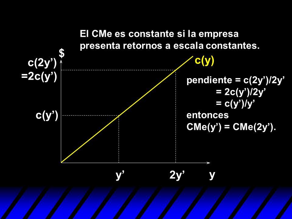 y $ c(y) y 2y c(y) c(2y) =2c(y) pendiente = c(2y)/2y = 2c(y)/2y = c(y)/y entonces CMe(y) = CMe(2y). El CMe es constante si la empresa presenta retorno