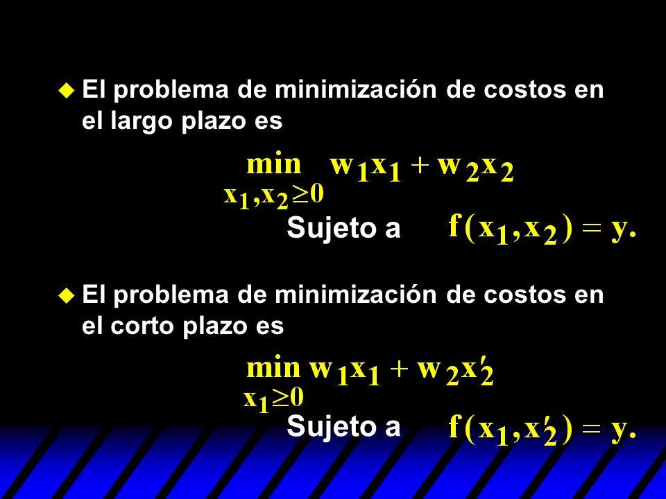 u El problema de minimización de costos en el largo plazo es u El problema de minimización de costos en el corto plazo es Sujeto a