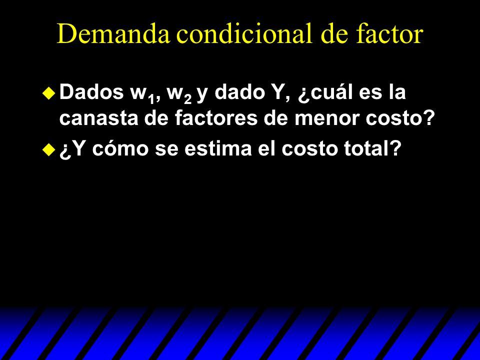 Demanda condicional de factor u Dados w 1, w 2 y dado Y, ¿cuál es la canasta de factores de menor costo? u ¿Y cómo se estima el costo total?