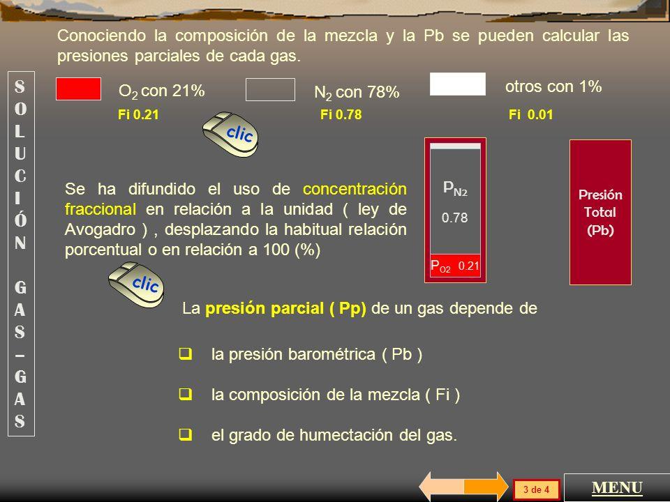 Por la ley de Dalton, la presión total de una mezcla gaseosa es igual a la suma de la presión ejercida por cada fracción de gas que la constituye, man