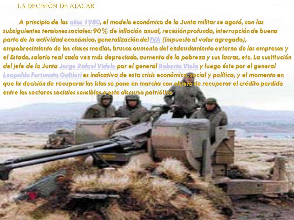 LA DECISIÓN DE ATACAR A principio de los años 1980, el modelo económico de la Junta militar se agotó, con las subsiguientes tensiones sociales: 90% de
