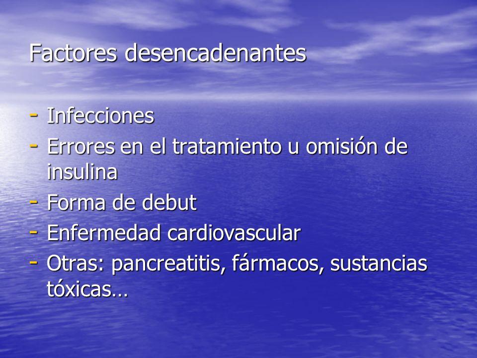 Factores desencadenantes - Infecciones - Errores en el tratamiento u omisión de insulina - Forma de debut - Enfermedad cardiovascular - Otras: pancrea