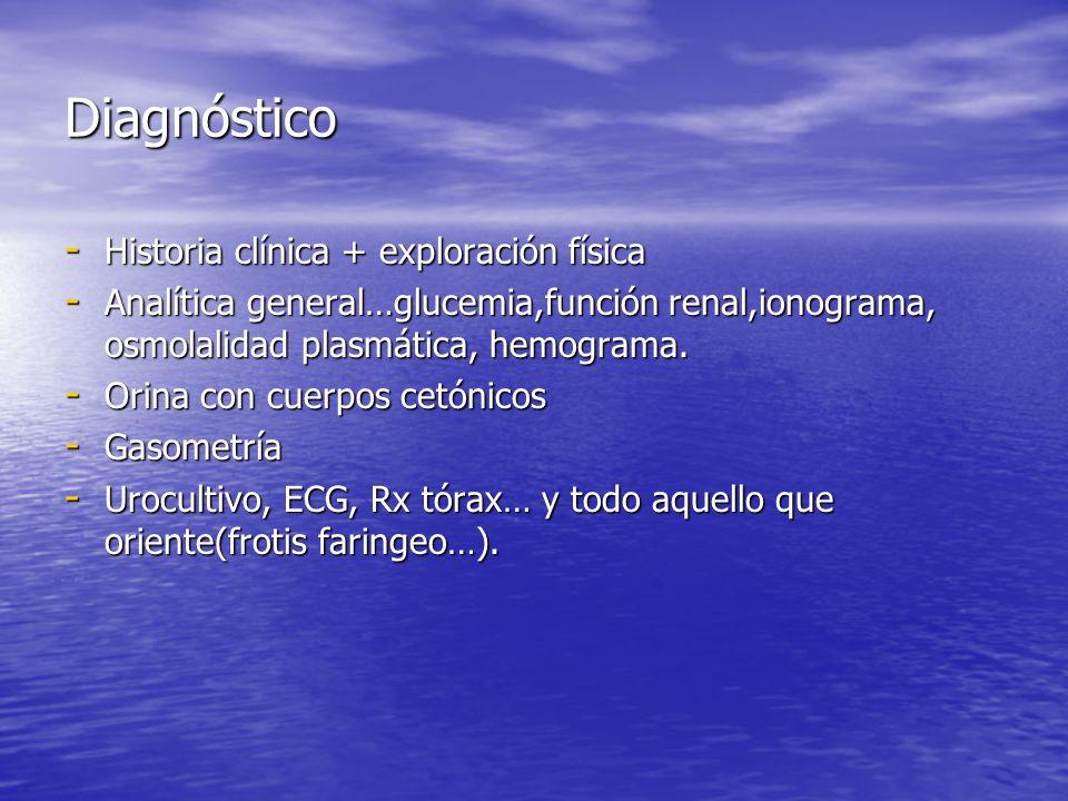 Diagnóstico - Historia clínica + exploración física - Analítica general…glucemia,función renal,ionograma, osmolalidad plasmática, hemograma. - Orina c