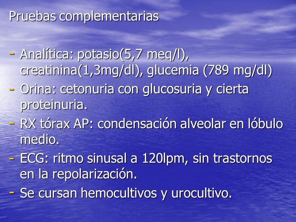 Pruebas complementarias - Analítica: potasio(5,7 meq/l), creatinina(1,3mg/dl), glucemia (789 mg/dl) - Orina: cetonuria con glucosuria y cierta protein
